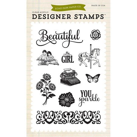 Echo Park - Jack and Jill Girl Collection - Clear Stamp - Beautiful Girl