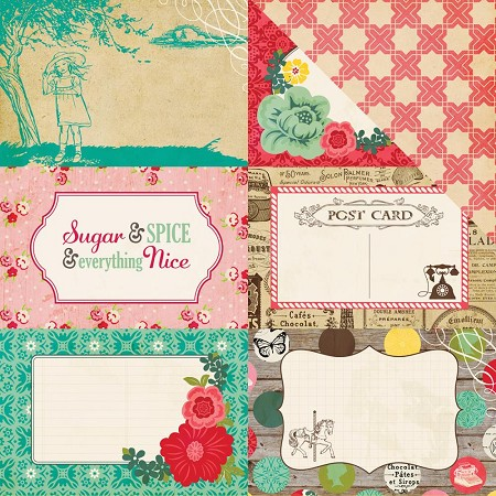 "Echo Park - Jack and Jill Girl Collection - 12""x12"" cardstock - 4x6 Journaling Cards"