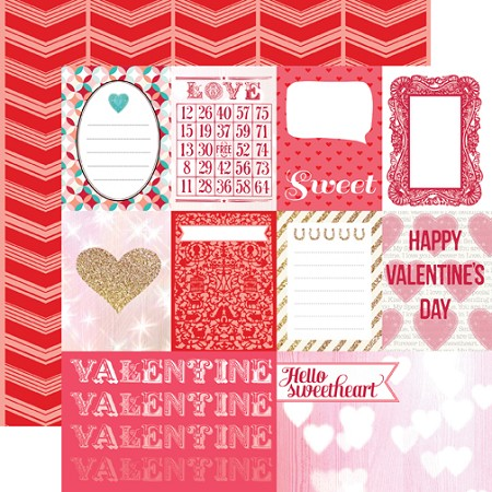"Echo Park - Lucky In Love Collection by Allison Kreft - 12""x12"" cardstock - Journaling Cards"