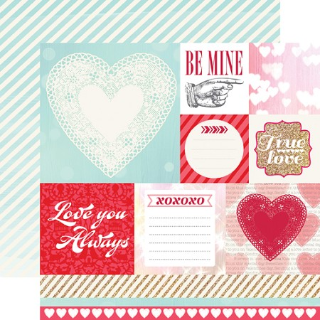 "Echo Park - Lucky In Love Collection by Allison Kreft - 12""x12"" cardstock - Be Mine"