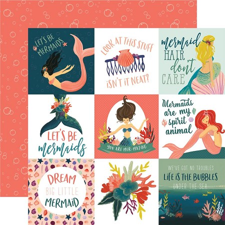 "Echo Park - Mermaid Tales Collection - 12""x12"" Cardstock - 4""X4"" Journaling Cards"