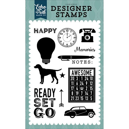 Echo Park - Petticoats & Pinstripes (Boy) Collection - Ready Set Go Clear Stamps