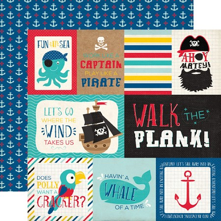 "Echo Park - Pirate's Life Collection - 12""x12"" Cardstock - Journaling Cards"