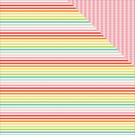 "Echo Park - Sunny Days Ahead Collection - 12""x12"" cardstock - Rainbow Stripes"