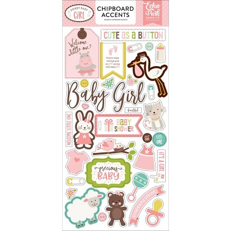 Echo Park - Sweet Baby Girl Collection - 6x12 Chipboard Accents