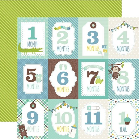 "Echo Park - Sweet Baby Boy Collection - 12""x12"" Cardstock - Month Cards"