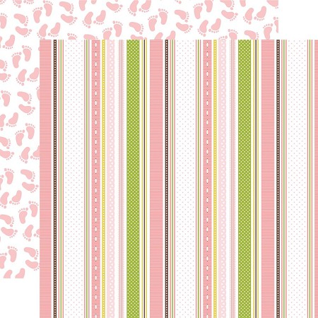 "Echo Park - Sweet Baby Girl Collection - 12""x12"" Cardstock - Baby Ribbons"
