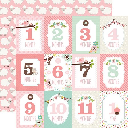 "Echo Park - Sweet Baby Girl Collection - 12""x12"" Cardstock - Month Cards"