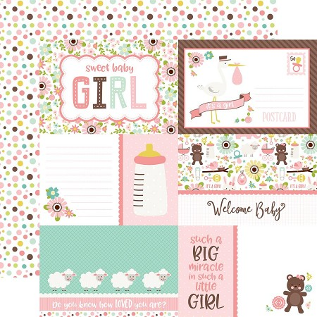 "Echo Park - Sweet Baby Girl Collection - 12""x12"" Cardstock - Journaling Cards"