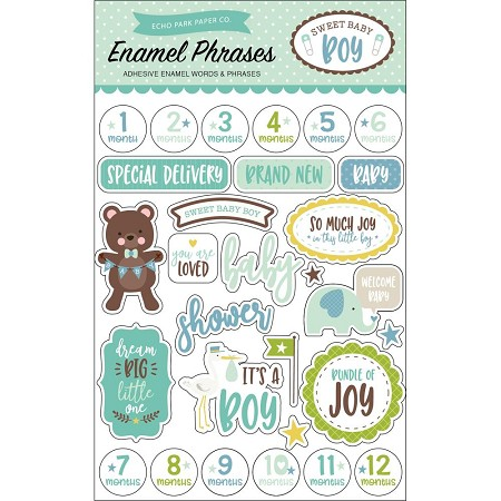 Echo Park - Sweet Baby Boy Collection - Enamel Words & Phrases