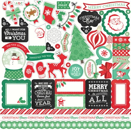 "Echo Park - Christmas Cheer Collection - 12""x12"" Elements Sticker Sheet :)"