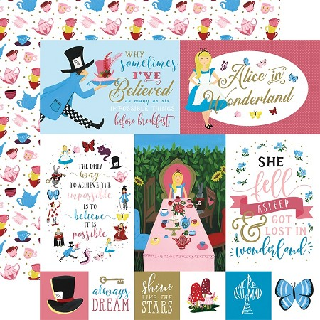 "Echo Park - Alice in Wonderland Collection - Multi Journaling Cards 12""x12"" Cardstock"