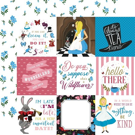 "Echo Park - Alice in Wonderland Collection - 4""X4"" Journaling Cards 12""x12"" Cardstock"