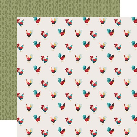 "Echo Park - Farmhouse Kitchen Collection - Roaming Roosters 12""x12"" Cardstock"