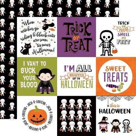 "Echo Park - I Love Halloween Collection - 4""X4"" Journaling Cards 12""x12"" Cardstock"