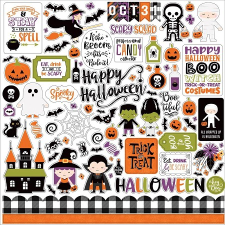 "Echo Park - I Love Halloween Collection - 12""x12"" Elements sticker sheet"