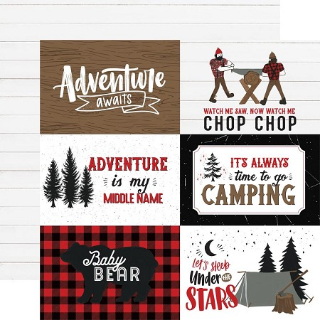 "Echo Park - Let's Lumberjack Collection - 4""x6"" Journaling Cards 12""x12"" Cardstock"