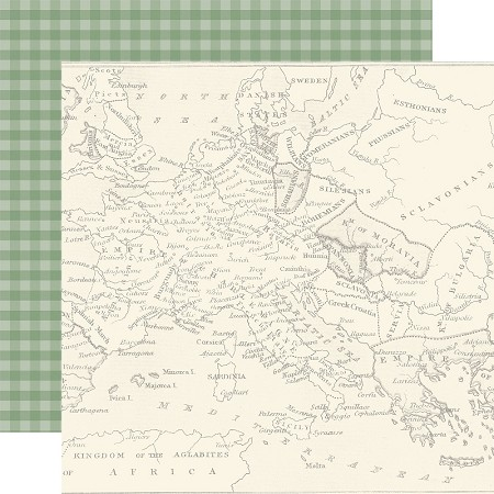 "Echo Park - Scenic Route Collection - Map of Europe 12""x12"" Cardstock"