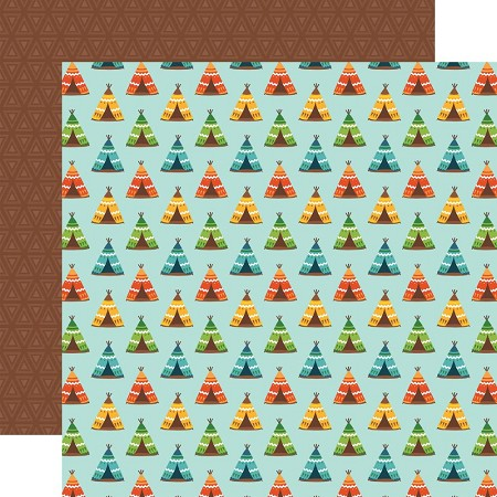 "Echo Park - Summer Adventure Collection - Pitch A Tent 12""x12"" Cardstock"