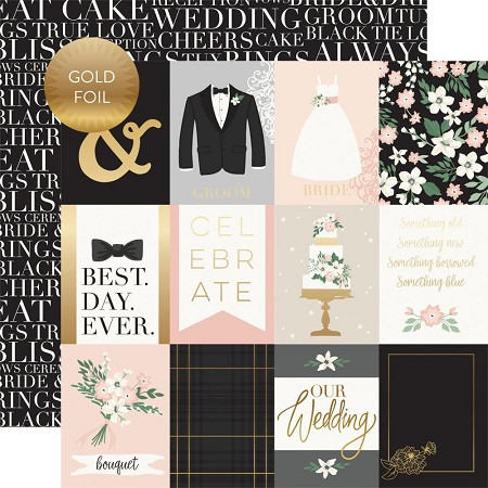 "Echo Park - Wedding Day Collection - 3""X4"" Journaling Cards 12""x12"" Foiled Cardstock"