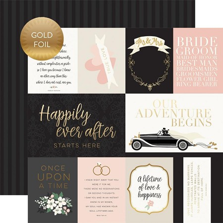 "Echo Park - Wedding Day Collection - Journaling Cards 12""x12"" Foiled Cardstock"