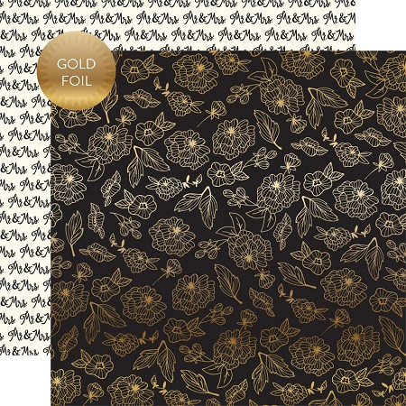 "Echo Park - Wedding Day Collection - Gold Floral 12""x12"" Foiled Cardstock"