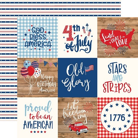 "Echo Park - America Collection - 4""X4"" Journaling Cards 12""x12"" Cardstock"