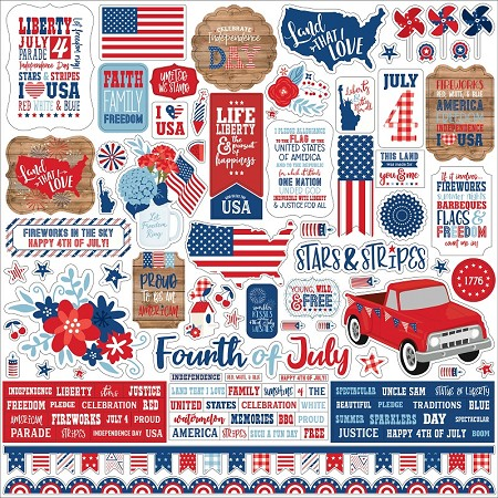 "Echo Park - America Collection 12""x12"" Elements Sticker Sheet"