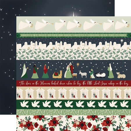 "Echo Park - Away In A Manger Collection - Border Strips 12""x12"" Cardstock"