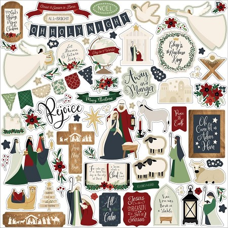 "Echo Park - Away In A Manger Collection 12""x12"" Elements Sticker Sheet"