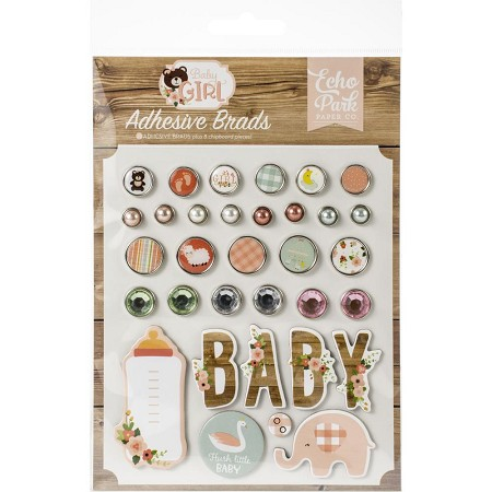 Echo Park - Baby Girl Collection - Adhesive Brads & Chipboard