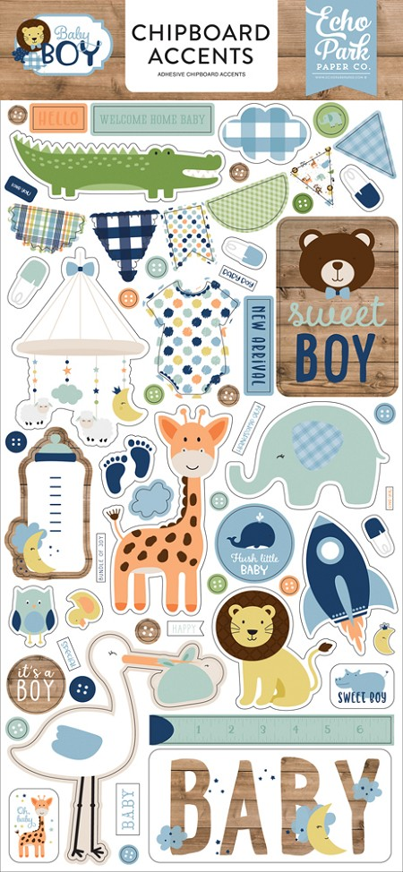 Echo Park - Baby Boy Collection - 6x12 Chipboard Accents