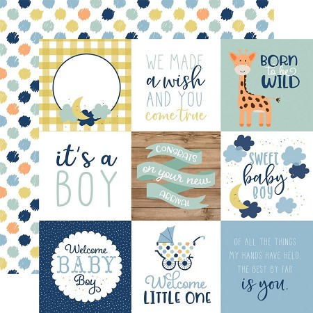 "Echo Park - Baby Boy Collection - 4""X4"" Journaling Cards 12""x12"" Cardstock"