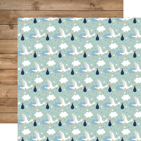 "Echo Park - Baby Boy Collection - Welcome Baby Boy 12""x12"" Cardstock"