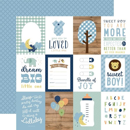 "Echo Park - Baby Boy Collection - 3""X4"" Journaling Cards 12""x12"" Cardstock"