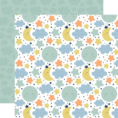 "Echo Park - Baby Boy Collection - Moon & Stars 12""x12"" Cardstock"