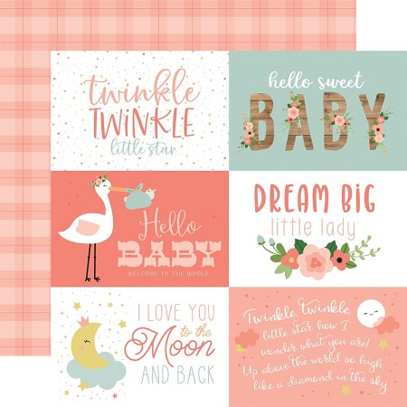 "Echo Park - Baby Girl Collection - 6""X4"" Journaling Cards 12""x12"" Cardstock"