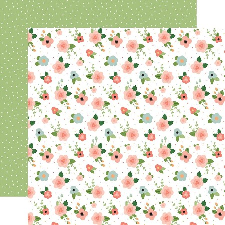 "Echo Park - Baby Girl Collection - Newborn Floral 12""x12"" Cardstock"