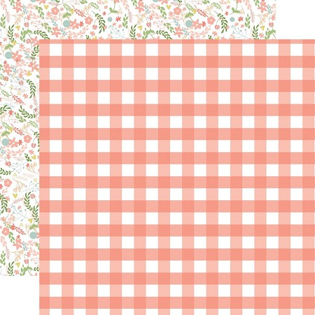 "Echo Park - Baby Girl Collection - Girl Gingham 12""x12"" Cardstock"