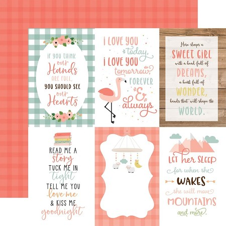 "Echo Park - Baby Girl Collection - 4""X6"" Journaling Cards 12""x12"" Cardstock"