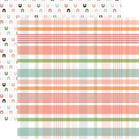 "Echo Park - Baby Girl Collection - New Arrival Plaid 12""x12"" Cardstock"