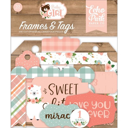Echo Park - Baby Girl Collection - Die Cut Tags & Frames