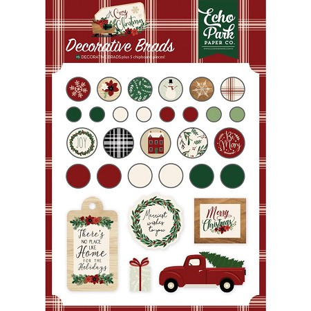 Echo Park - A Cozy Christmas Collection - Decorative Brads & Chipboard
