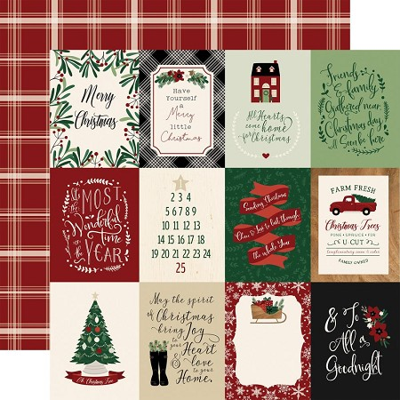 "Echo Park - A Cozy Christmas Collection - 3""X4"" Journaling Cards 12""x12"" Cardstock"