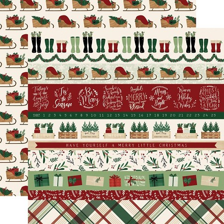"Echo Park - A Cozy Christmas Collection - Border Strips 12""x12"" Cardstock"