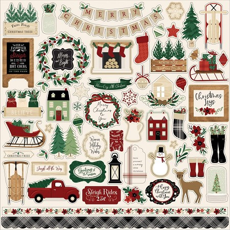 "Echo Park - A Cozy Christmas Collection 12""x12"" Elements Sticker Sheet"