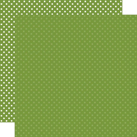 "Echo Park - Dots & Stripes - Leaf Green Dots 12""x12"" Cardstock"