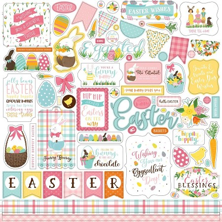 "Echo Park - I Love Easter Collection - Sticker Sheet 12""x12"""