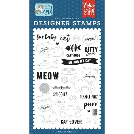 Echo Park - I Love My Cat Collection - Kitty Love Clear Stamp