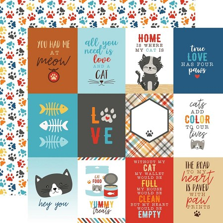 "Echo Park - I Love My Cat Collection - 3""X4"" Journaling Cards 12""x12"" Cardstock"